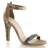 Gold Strass 11,5 cm CLEARLY-436 Hohe Abend Sandaletten mit Absatz