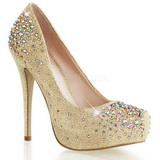 Gold Strass 13 cm DESTINY-06R Plateau Damen Pumps Schuhe