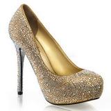 Gold Strass 13 cm PRESTIGE-20 Plateau Damen Pumps Schuhe