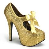 Gold Strass 14,5 cm TEEZE-04R Plateau Damen Pumps Schuhe