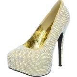 Gold Strass 14,5 cm TEEZE-06R Plateau Damen Pumps Schuhe