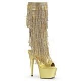 Gold Strass 18 cm ADORE-2024RSF Damen stiefel mit fransen