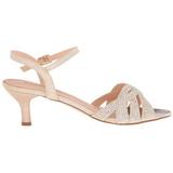 Gold Strass 6,5 cm AUDREY-03 Hohe Abend Sandaletten mit Absatz