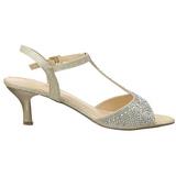 Gold Strass 6,5 cm AUDREY-05 Hohe Abend Sandaletten mit Absatz