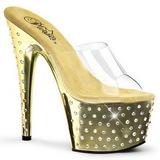 Gold Strass Platform 18 cm STARDUST-701 Damen Mules Schuhe