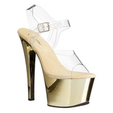 Gold Transparent 18 cm SKY-308 Plateau High Heels