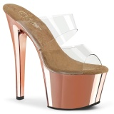 Gold chrome plateau 18 cm SKY-302 pleaser high heel mules