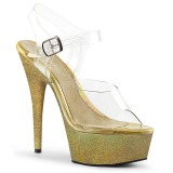 Gold glitter 15 cm Pleaser DELIGHT-608HG pole dance high heels schuhe