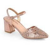 Gold glitter 7 cm Fabulicious FAYE-06 high heeled sandals