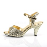 Gold glitter 8 cm Fabulicious BELLE-309G low heeled sandals