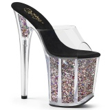 Gold glitter platform 20 cm FLAMINGO-801CG pleaser high heel mules