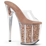 Gold glitter platform 20 cm FLAMINGO-801G pleaser high heel mules