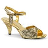 Gold glitzern 8 cm Fabulicious BELLE-309G Sandaletten mit high heels