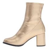 Gold kunstleder 7,5 cm GOGO-150 stretch ankel boots mit blockabsatz