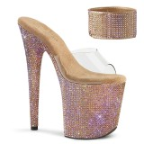Gold strass 20 cm BEJEWELED-812RS pleaser high heels mit knöchelmanschette