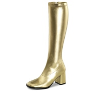 Goldene stiefel blockabsatz 7,5 cm vinylleder - 70er jahre hippie disco kniehohe boots gogo