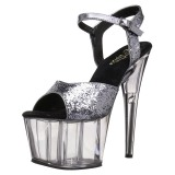 Grau 18 cm ADORE-710GT glitter plateau high heels