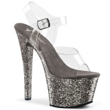Grau 18 cm SKY-308LG glitter plateau high heels