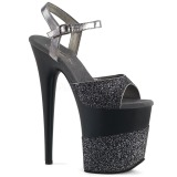 Grau Glitzern 20 cm Pleaser FLAMINGO-809-2G Plateau High Heels