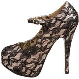 Grau Satin 14,5 cm Burlesque TEEZE-07L Plateau Pumps Schuhe