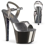 Grau chrome plateau 18 cm SKY-309TTG pleaser high heels