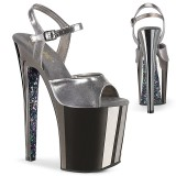 Grau chrome plateau 20 cm XTREME-809TTG pleaser high heels