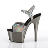 Gray 18 cm ADORE-709HGCH Hologram platform high heels shoes