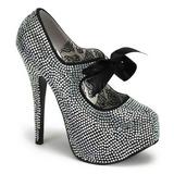 Gray Rhinestone 14,5 cm TEEZE-04R Platform Pumps Women Shoes