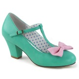Green 6,5 cm WIGGLE-50 Pinup Pumps Shoes with Cuben Heels