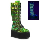 Green 9 cm DAMNED-318 womens buckle boots with platform