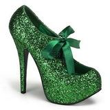 Green Glitter 14,5 cm Burlesque TEEZE-10G Platform Pumps Shoes