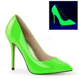Green Neon 13 cm AMUSE-20 pointed toe stiletto pumps
