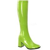 Green Patent 7,5 cm Funtasma GOGO-300 Women Knee Boots