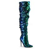 Green Sequins 13 cm COURTLY-3011 Pleaser Overknee Boots