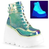 Green neon 11,5 cm SHAKER-52 lolita ankle boots wedge platform
