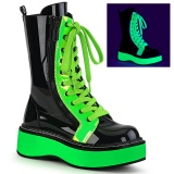 Green neon 5 cm EMILY-350 cyberpunk platform ankle boots