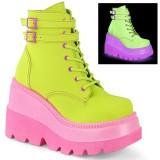 Green neon 5 cm SHAKER-52 cyberpunk platform ankle boots