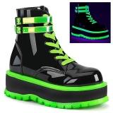 Green neon 5 cm SLACKER-52 cyberpunk platform ankle boots