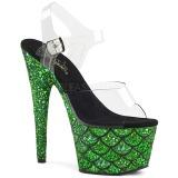 Grün 18 cm ADORE-708MSLG glitter plateau sandaletten