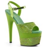 Grün 18 cm ADORE-709-2G glitter plateau sandaletten