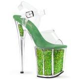 Grün 20 cm FLAMINGO-808GF glitter plateau high heels