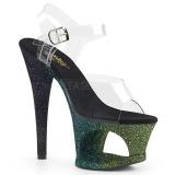 Grün glitter 18 cm Pleaser MOON-708OMBRE pole dance high heels schuhe