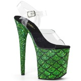 Grün 20 cm FLAMINGO-808MSLG glitter plateau sandaletten