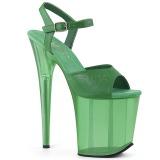 Grün 20 cm FLAMINGO-809T Acryl plateau high heels