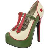 Grün Beige 14,5 cm Burlesque TEEZE-43 Damenschuhe mit hohem Absatz