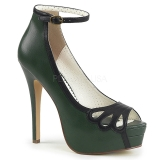 Grün Kunstleder 13,5 cm BELLA-31 peep toe pumps schuhe