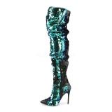 Grün Pailletten 13 cm COURTLY-3011 Pleaser Overknee Stiefel