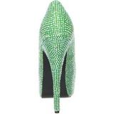 Grün Strass 14,5 cm Burlesque TEEZE-06R Plateau Damen Pumps Schuhe