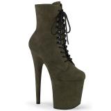 Grün faux suede 20 cm FLAMINGO-1020FS pole dance ankle boots