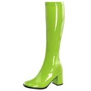 Grüne lackstiefel blockabsatz 7,5 cm - 70er jahre hippie disco kniehohe boots gogo
